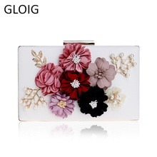 купить Pu Women Bag Flower Beaded Lady Clutch Bag Metal Gold Evening Bag Wedding Party Chain Shoulder Handbags Phone/key Pocket по цене 917.05 рублей