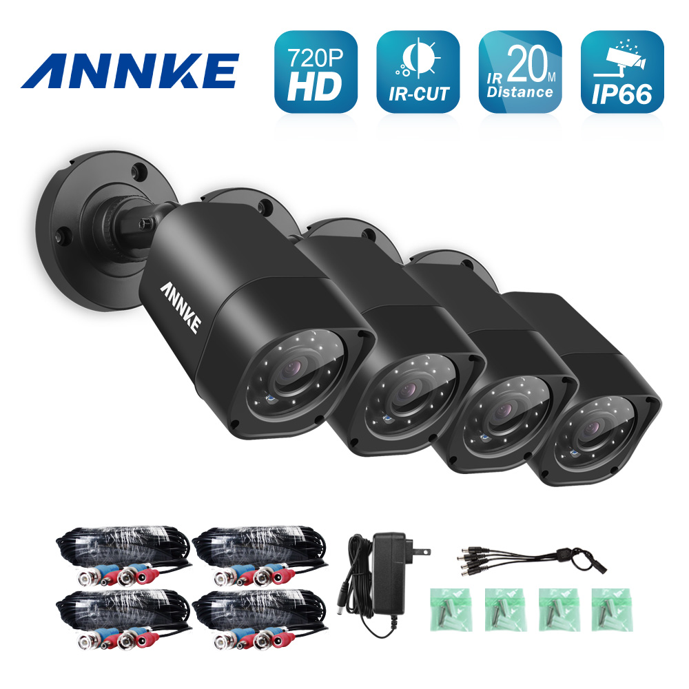 ANNKE 4pcs 720P CCTV Security Cameras 1280tvl 1.0MP IR outdoor Waterproof 1500TVL Camera for home surveillance security system