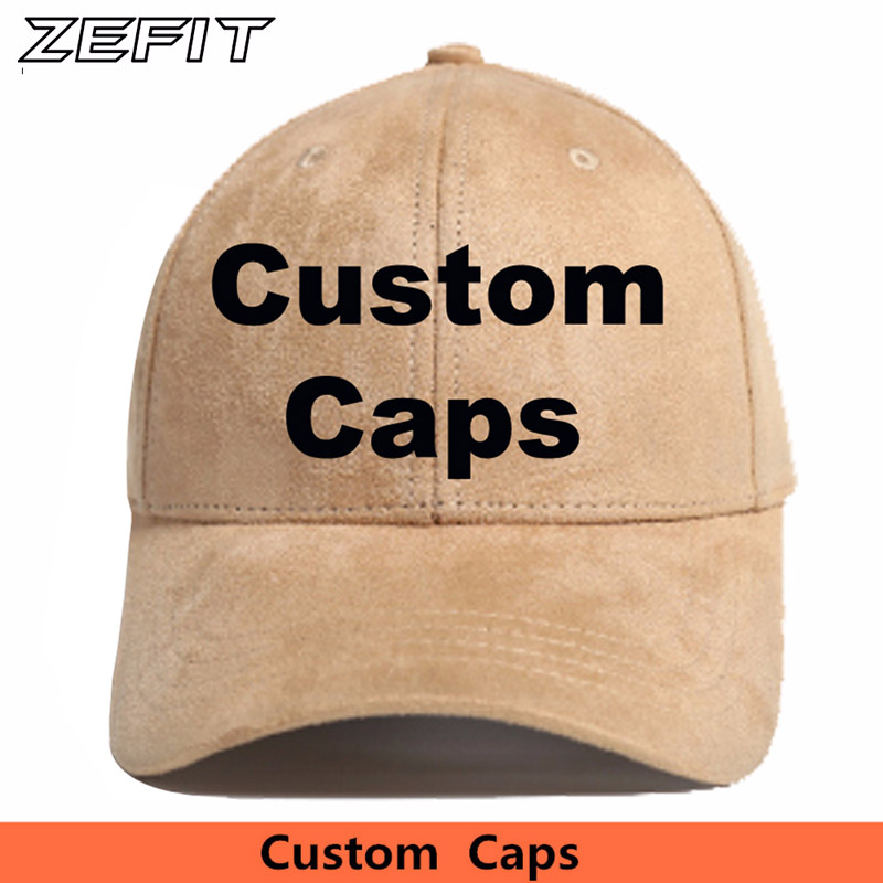 a0e851244d9 Custom Suede Baseball Caps Free Embroidery Printing Logo Men Women Adult  Kids Snapback Cap Customized Hats