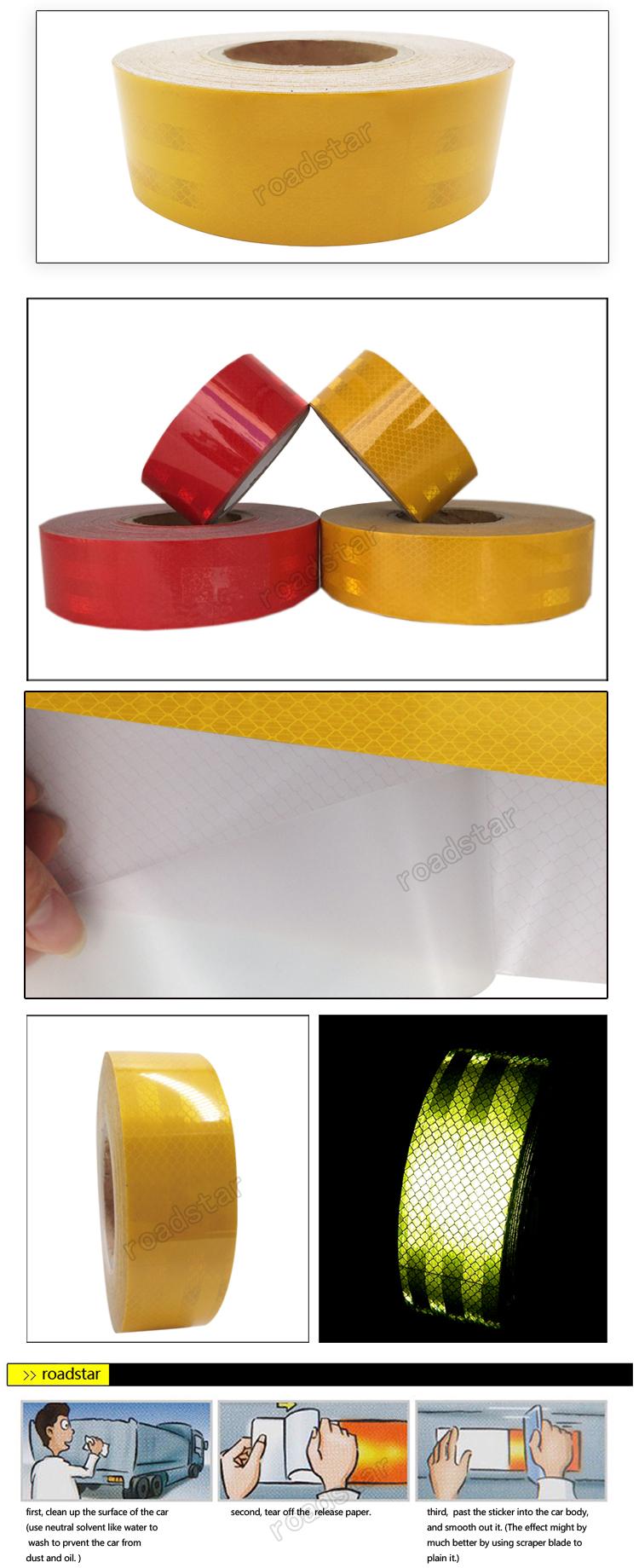 5 см x 10 м красные/желтые безопасные наклейки для тела с эффектом