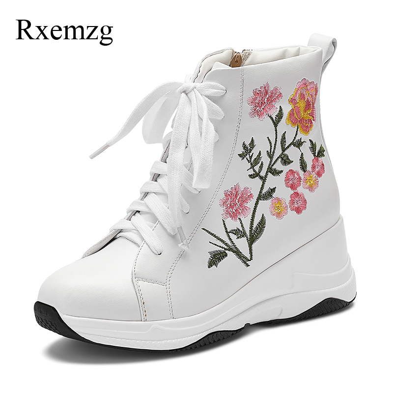 Rxemzg high heels ankle boots for women fashion genuine leather embroidered boots cross tied lace up wedge boots ladies shoesRxemzg high heels ankle boots for women fashion genuine leather embroidered boots cross tied lace up wedge boots ladies shoes