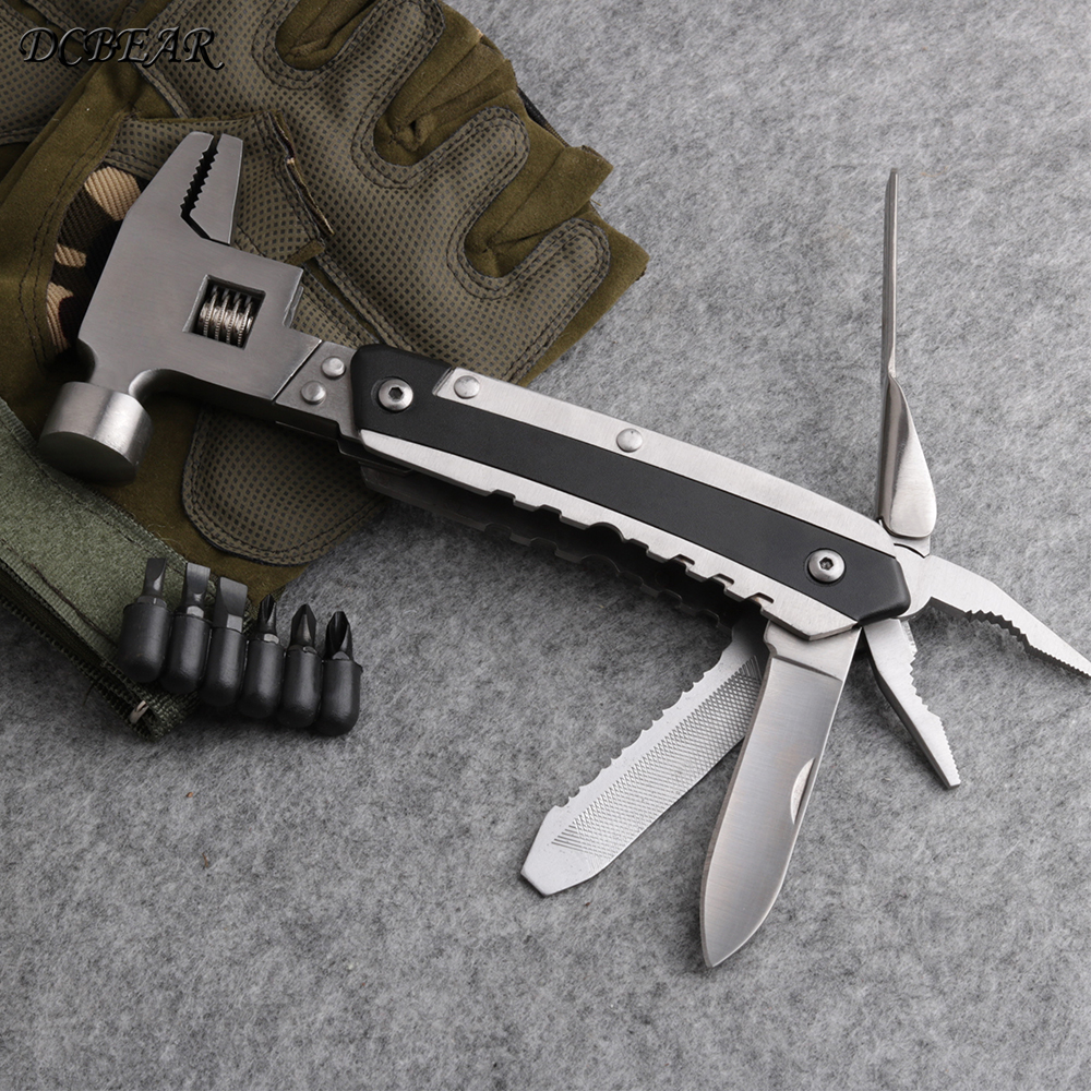 DCBEAR CH34 High weight Pliers Knife Screwdriver Hand Tool Multi-function Hammer Combination Pliers Multitools wrench Tools piranha multi tool adjustable wrench jaw screwdriver pliers knife multi tool set