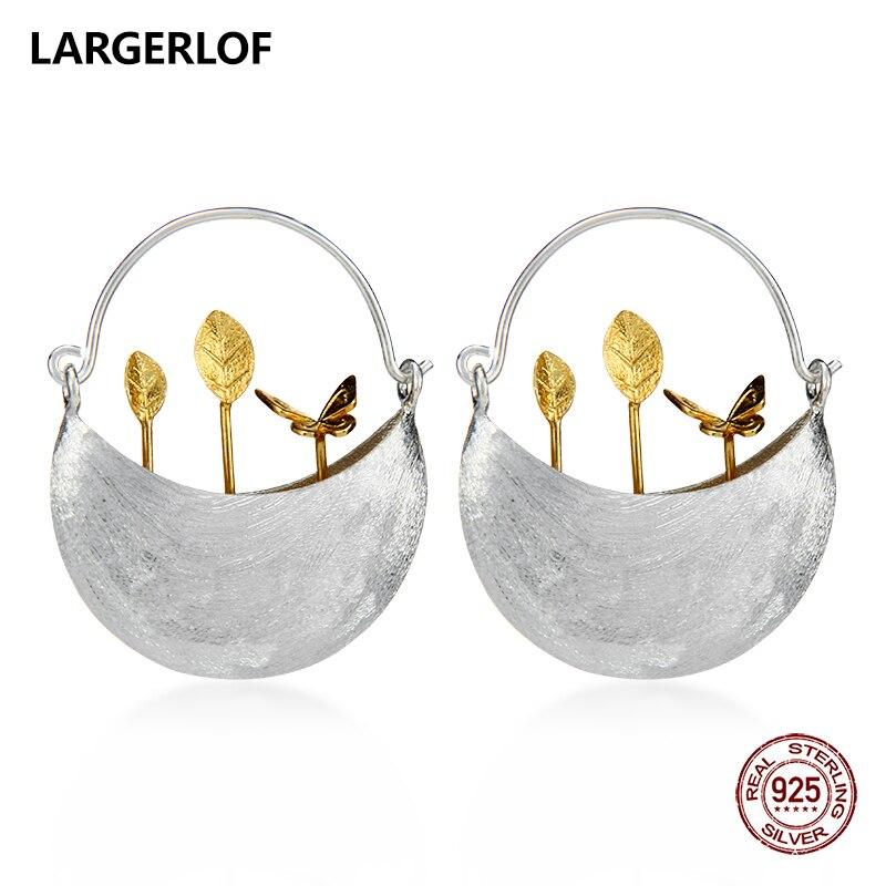 Largerlof реального 925 пробы Серебряные серьги Для женщин ручной работы Fine Jewelry Серьги Ювелирные серьги RG50031