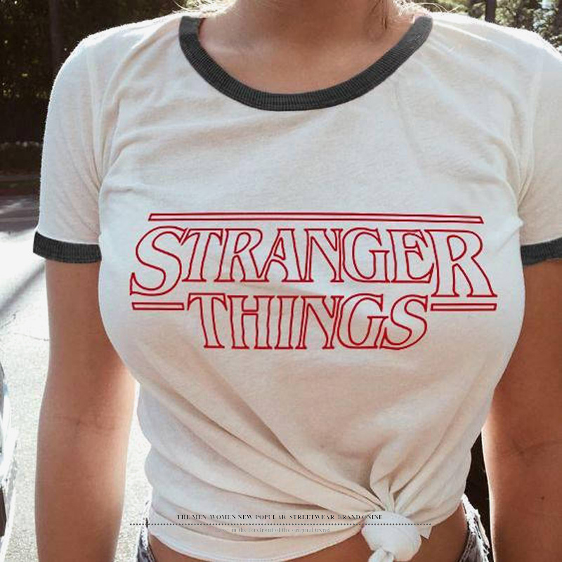 JIANWEILI Summer   T     shirt   women Stranger things Originality O-Neck harajuku Short Sleeves thin   T  -  shirts   Tee Tops tshirt for women