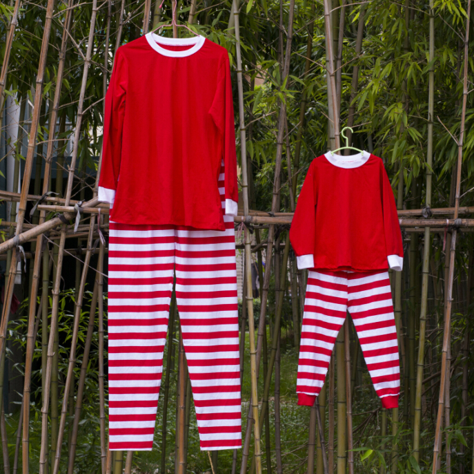 toddler popular red and white stripe christmas pajamas mother and child clothing set baby