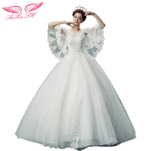 AnXin SH Luxurious Lace Butterfly Sleeve Sexy Wedding Dress