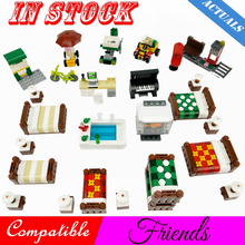 Creator Friends Heartlake House Room Double Bed Sofa Piano Desk Scenes Figures Building Blocks MOC Accessories Parts Toys Friend(China)