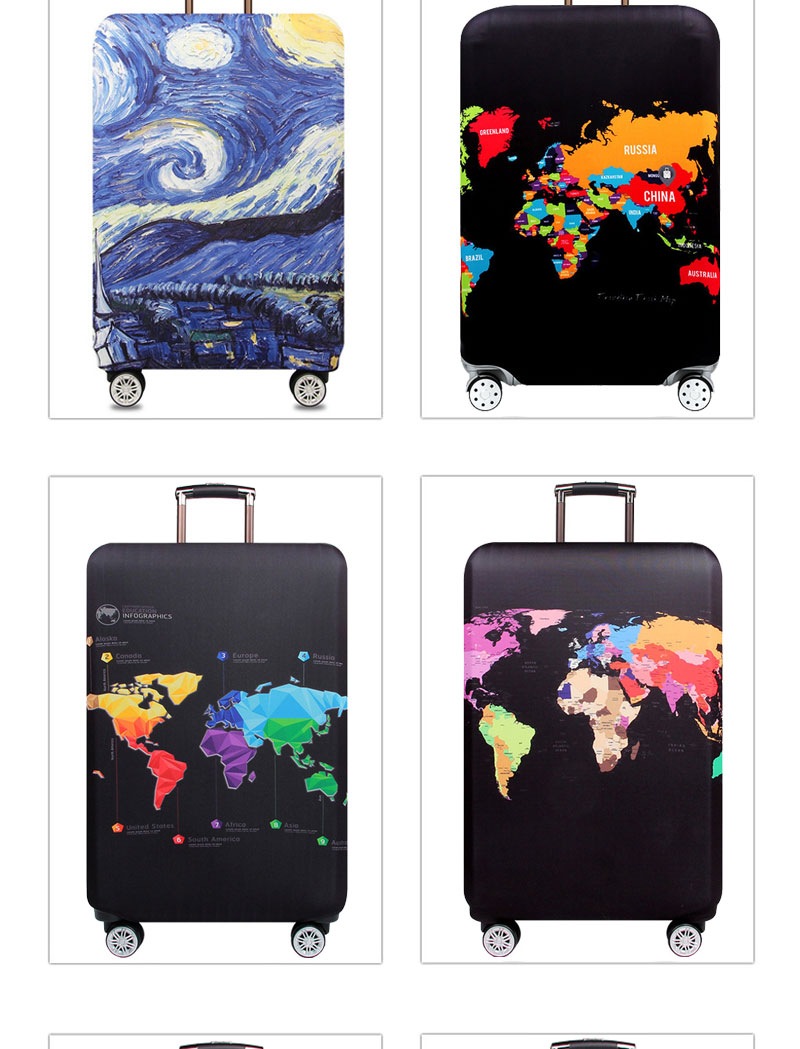 HMUNII World Map Design Luggage Protective Cover Travel Suitcase Cover Elastic Dust Cases For 18 to 32 Inches Travel Accessories 9