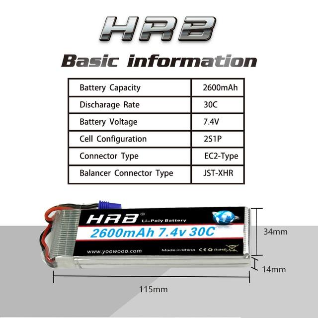 HRB Lipo 2s battery Hubsan H501S Battery 7.4V 2600mah 30C EC2 RC Drone Akku Li-Polymer For RC Quadcopter Helicopter Airplane 3