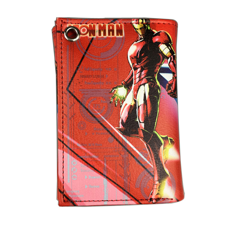 Iron Man The Avengers Wallets Comics DC Marvel Bioworld Purse Anime Hero Print LOGO Money Bags Three Folded Leather Short Wallet new comics dc marvel slim wallet the avengers hulk iron man captain america purse logo credit oyster license card wallet