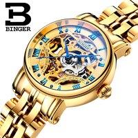 Switzerland BINGER Ladies Gold Watch Women Top Brand Luxury Gold Simple Skeleton Transparent Case Automatic Mechanical Watches