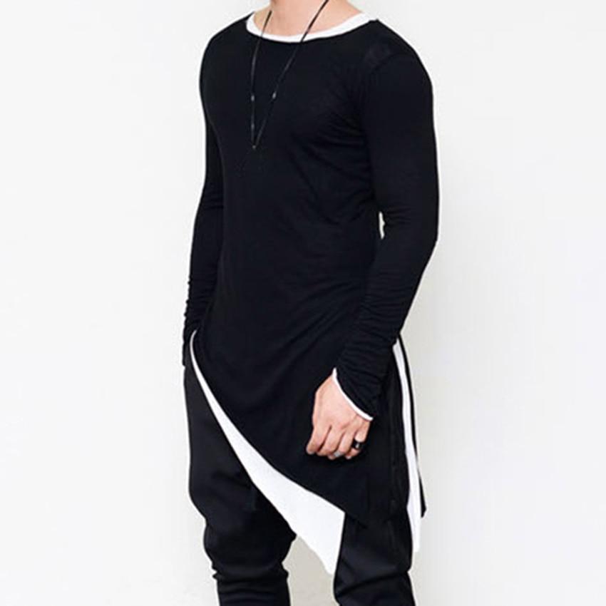 Мужская ассиметричная футболка с длинным рукавом, с острым подолом сбоку