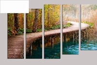 High quality 100% 5pcs Oil Painting On Canvas about Pond path home Decor Modern living room decoration wall stickers RM5 072