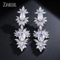 ZAKOL Luxury Zircon Chandelier Dangle Drop Earrings Fashion CZ Leaf Cluster Bridal Wedding Jewelry For Elegant