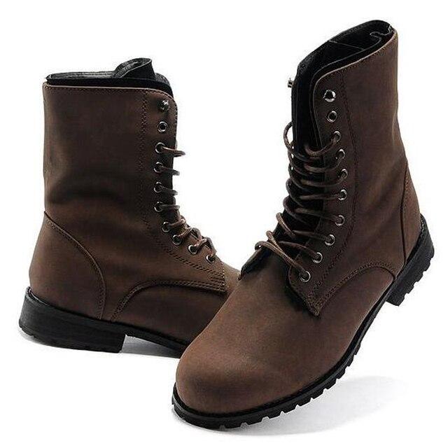 Genuine Leather Men Retro Combat Rubber Boots Winter Autumn Shoes England-Style Fashionable Riding Boots Men'S Short Black Botas