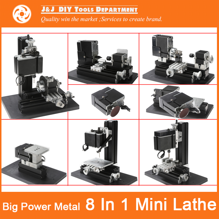 12000r min 60W All Metal 8 in 1 Mini Lathe without Bow arm Milling Drilling Wood
