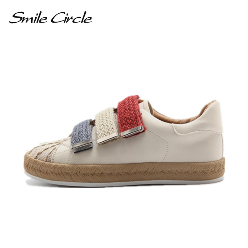 Smile Circle 2018 Spring Autumn Sneakers Women Hook & Loop Flat Shoes Women Fashion Designer Casual Platform Shoes Flat Shoes