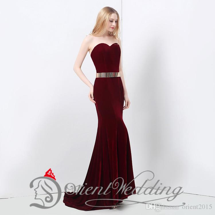 24505201ca4f Sexy New Wine Dark Red Velvet Mermaid Prom Dresses Floor Length Gold Belt  Inexpensive Evening Gowns-in Evening Dresses from Weddings & Events on ...