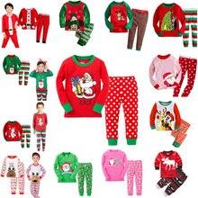 2016 New Year Girls Mickey Pajamas Suit For 2-7Years Children Nightgown Pyjamas Boys Cute Cartoon Santa Christmas Pijamas Set