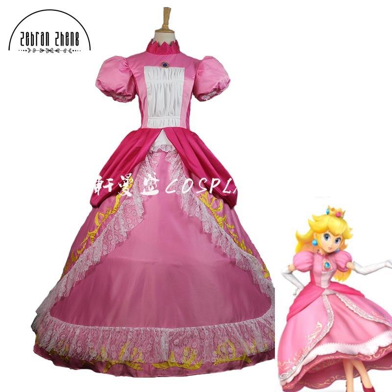 Top Quality Super Mario Princess Peach Sister Dress Cosplay Costume For Adult Women Halloween Costume Dress Custom Made
