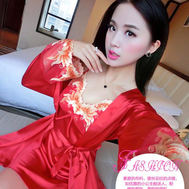 Correa de espagueti de seda ropa de dormir de encaje tentación femenina sexy camisón de la princesa twinset