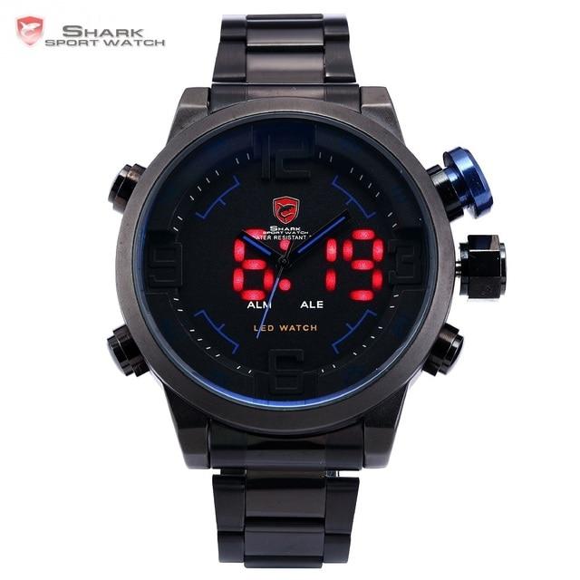 Gulper SHARK Sport Watch Luxury Brand LED Analog Date Quartz Blue Button Steel S