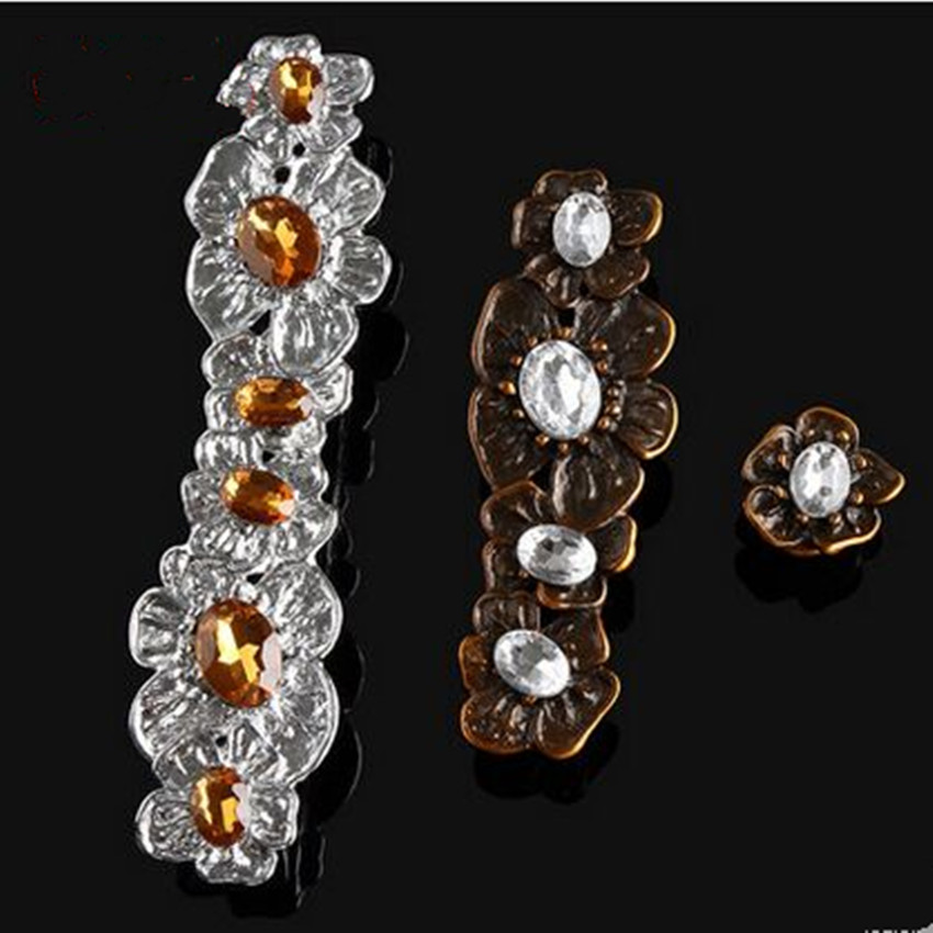 160mm european retro fashion deluxe clear brown crystal furniture handles silver bronze kitchen cabinet wine cabinet drawer knob css clear crystal glass cabinet drawer door knobs handles 30mm