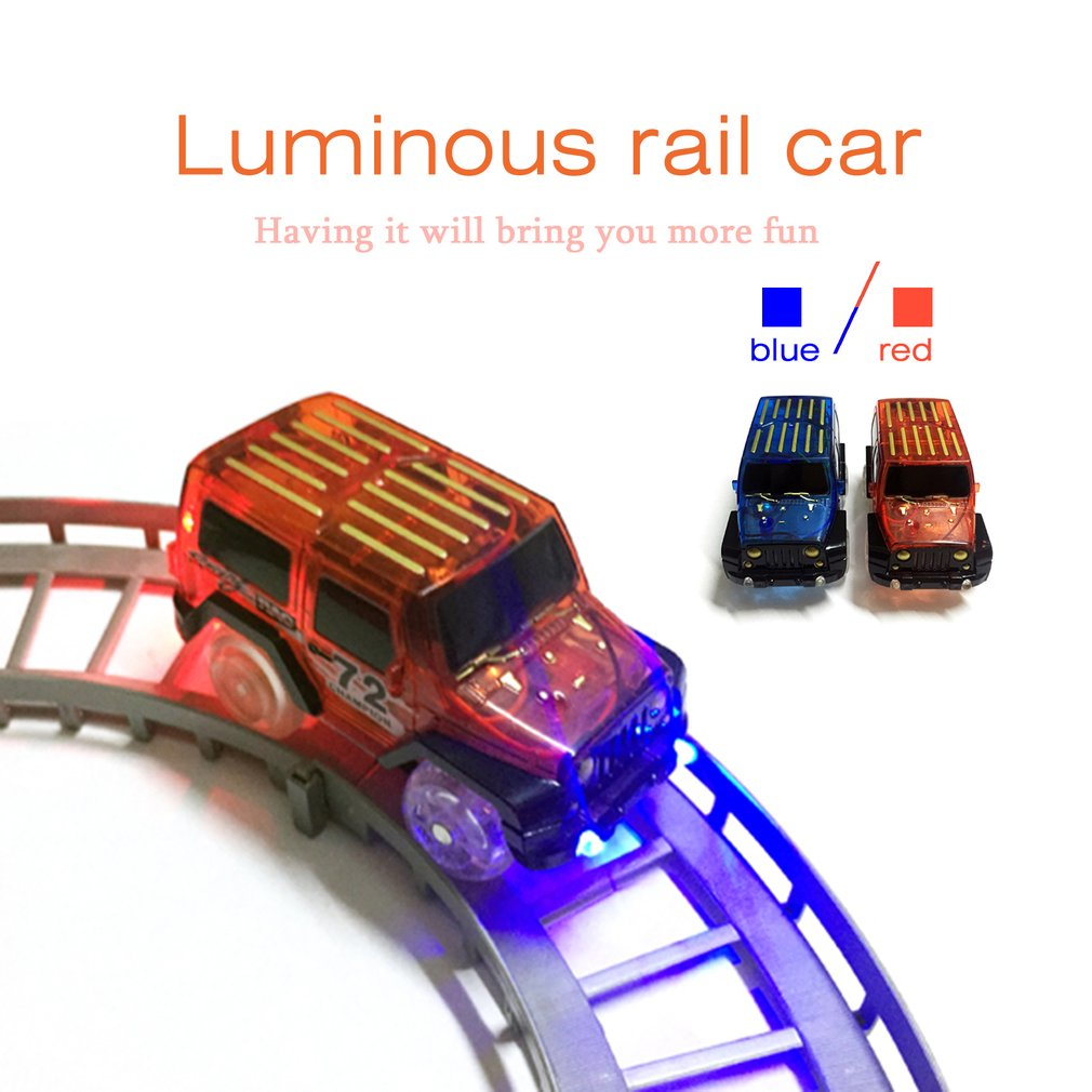 LED Light Up Cars for Glow Tracks Electronics Car Toys With Flashing Lights Fancy DIY Toy Luminous Railway Track Cars For Kids image