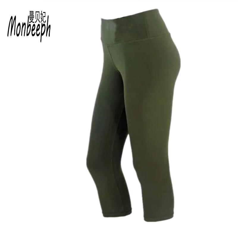Monbeeph new brand Women Capris Pants Casual trousers For Women Slim Elastic Army Green leggings Women Pants