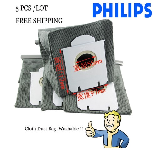 5-PieceLOT Free Shipping Cleaner Reusable Cloth Dust Bag for Philips S-bag FC8202 FC8203 FC8204 FC8205 FC8206 FC8208 FC8312