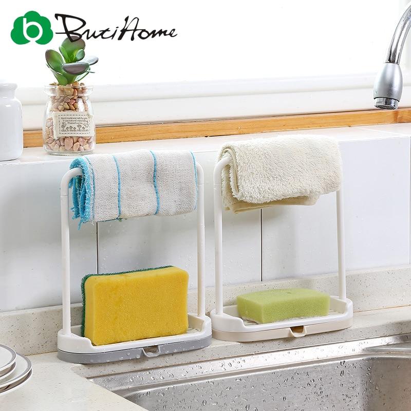 Butihome Home Multifunctional Storage Rack Kitchen Rags Storage Rack Drain Rack Bathroom Towel / Sponge / Soap Storage Rack