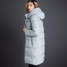 2016 длинный участок толстый пуховик женщин XL свободно, повседневная капюшоном пуховик теплое пальто высокого качества