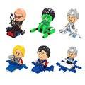 6 шт. Мстители рисунках супер Heroe симпатичные Версия Супермен халк Фигура Строительные Блоки Совместимые Модели Кирпич Kid Toy подарок