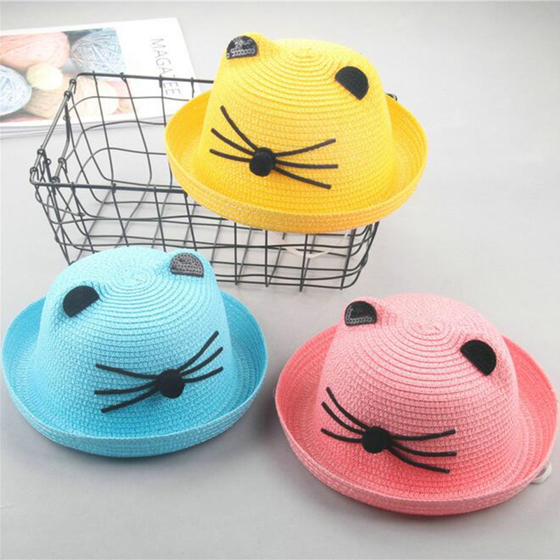 2018 Fashion Straw Hats Summer Kitten Baby Ear Decoration Lovely Child Character Girls And Boys Sun Hat Solid Children Floppy