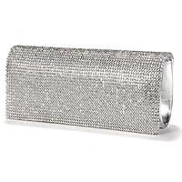 5pcs ASDS Handbag Evening Wallet Pouch Imitation Patent Leather Rabat Set With Rhinestone Silvery For Women