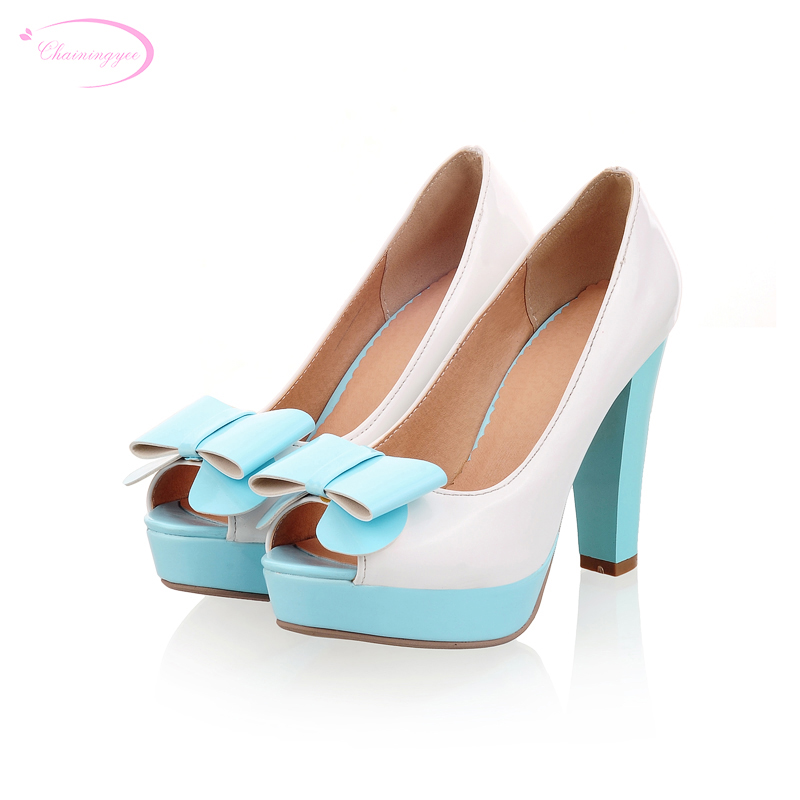 Chainingyee sweet dating style sexy peep toe pumps bowtie color matching platform high heels women's shoes big size 21.5~26.5cm