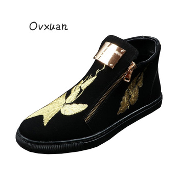 Men's Metal Sheet Embroidered flowers Casual High Top Shoes Male Hip Hop Trendy Fashion Party Prom Dress Loafers Shoes for men