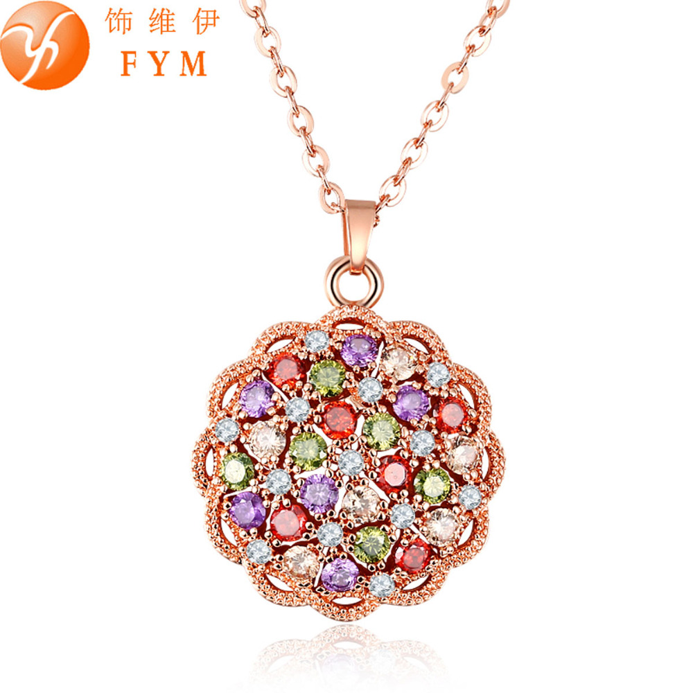 New Fashion Colorful Cubic Zirconia Red Crystal Chain Necklaces Pendant Copper Necklace Jewelry for Women Party