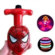 1 комплект, светодиодный светильник с изображением гироскопа и мультипликационного героя, красный паук, спиннинг, светящийся в ночное время, высокая скорость, вращающаяся игрушка для детей