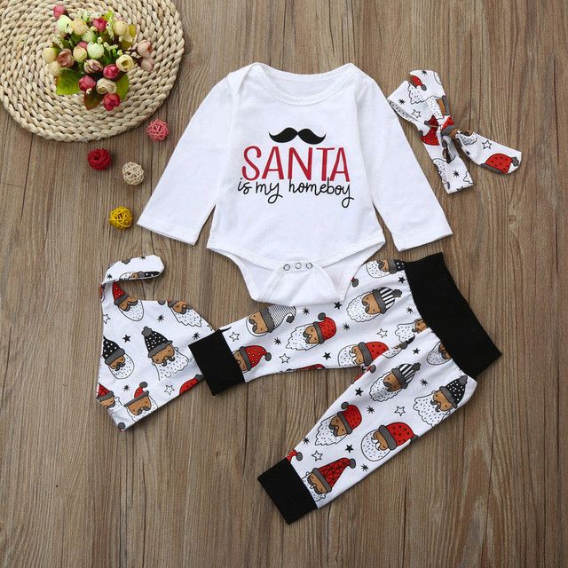 d9e9b4d1fd3 Baby Cloth My First Christmas Infant Boy Outfits Romper Pants Leggings Hat  Headband 4pcs Set Overalls