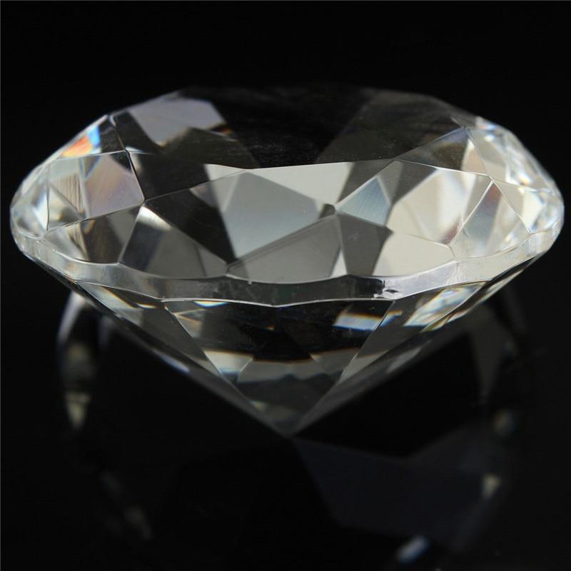 1 pc 60mm / 2.36inch Clair Cristal Diamant Forme Forme Presse-papiers - Décor à la maison - Photo 4
