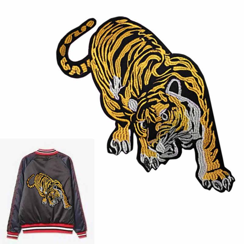 Nuevo tigre bordado grande tela pegatinas abrigo chaqueta decoración fresca Ropa Accesorios DIY etiquetado modificado