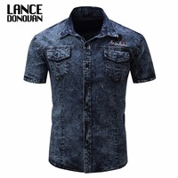 2017 Summer Denim Casual Shirts Men New Short Sleeve Army Shirt