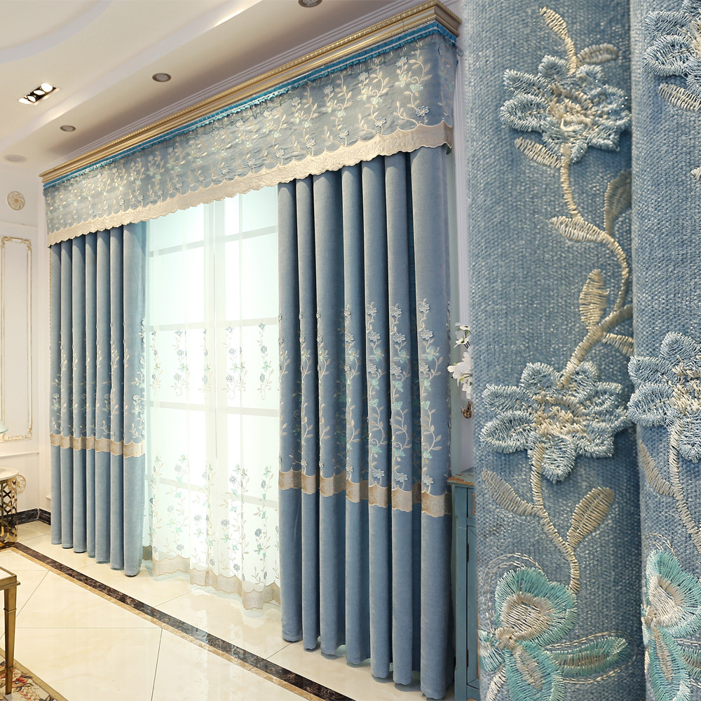 Embroidered Curtain Fabric Thickening Cashmere Chenille Shade Curtain For Bedroom Curtain Product Customization