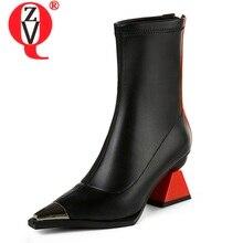 ZVQ/Женская обувь; сезон осень; новые модные разноцветные ботильоны из натуральной кожи ручной работы; обувь на молнии на высоком каблуке; Прямая