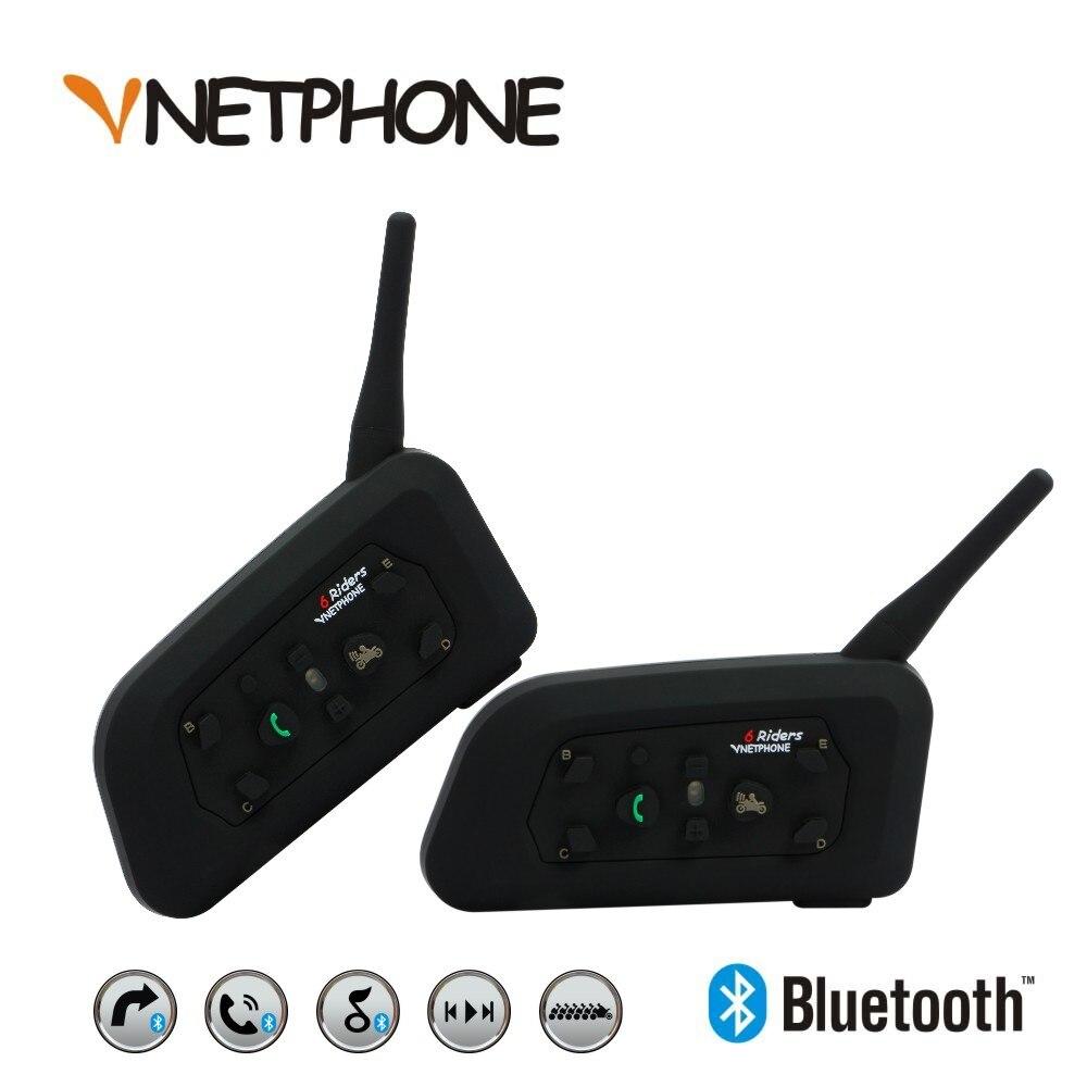 VNETPHONE 2 X1200m Bluetooth Intercom Headset 6 Riders Handsfree Waterproof Motorcycle Interphone Support Stereo Music/audio vnetphone 1200m motorcycle bluetooth helmet headset full duplex walkie for 5 riders intercomunicador 100