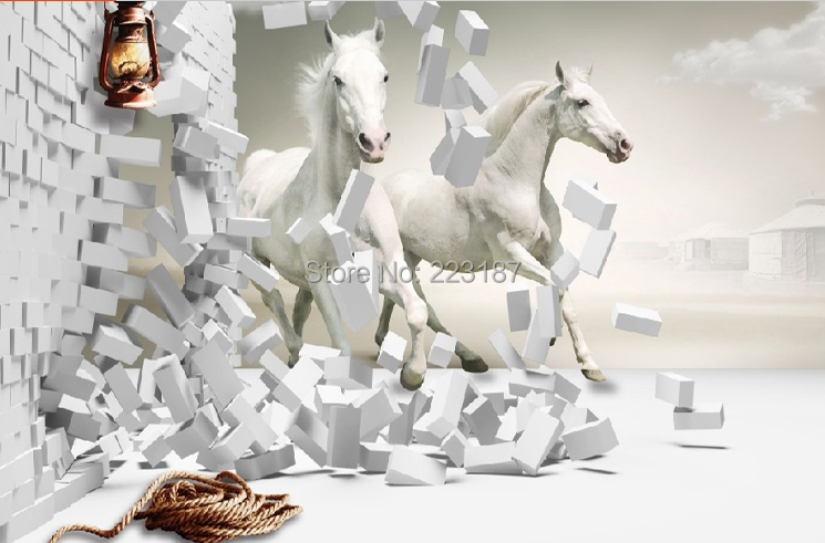 Hot custom large mural 3d white horse brick living wallpaper bedroom decorative hd photo fabric wall paper high quality Chinese creative mural chinese horse to success