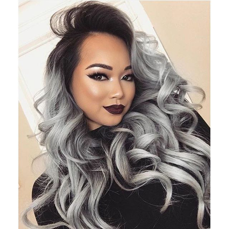 black ombre grey hair synthetic grey lace front wig wavy haircuts 180 density 24 inch in stock. Black Bedroom Furniture Sets. Home Design Ideas
