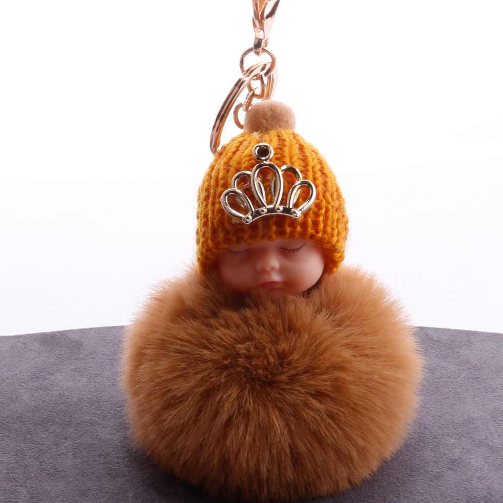 Coroa Bebê Dormindo Boneca Chaveiro Chaveiro Carro Chaveiro Bola de Pêlo de Coelho Pompom Fofo porte Saco clef chaveiro llaveros chaveiro