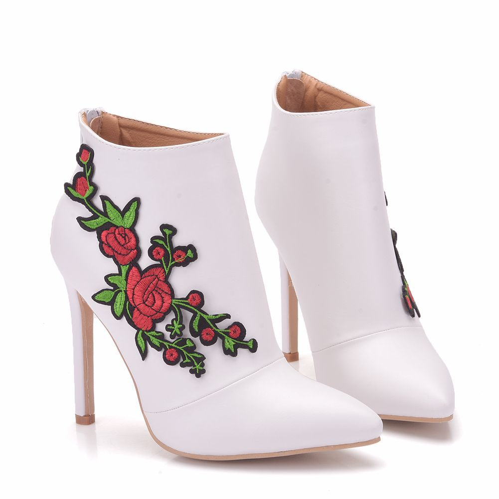 Fashion New Ultra High Heels White Pu Leather Shoes Woman Party Wedding Club Female Ladies Shoes Big Size 35 41 XY A0159 in Ankle Boots from Shoes
